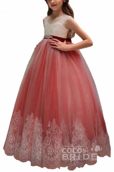 Pink Scoop Neck Sleeveless Ball Gown Flower Girls Dress_13