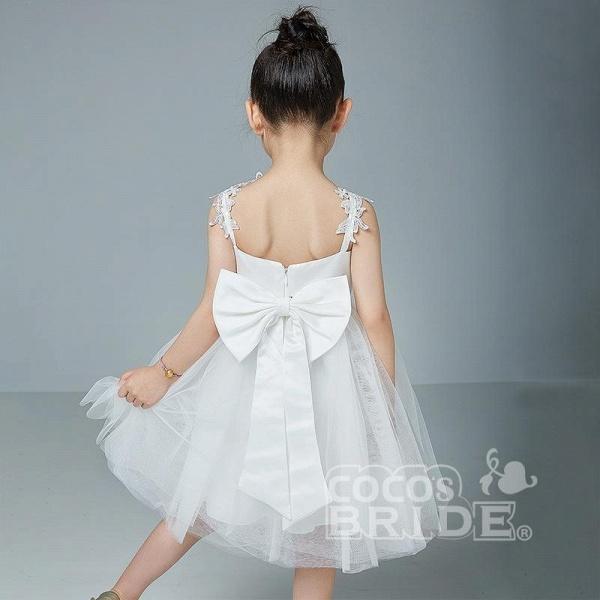 Beige V-Neck Sleeveless Ball Gown Flower Girls Dress_5
