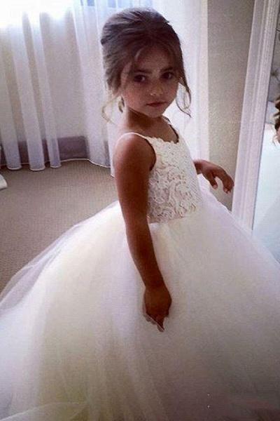 White Square Neckline Sleeveless Ball Gown Flower Girls Dress_5