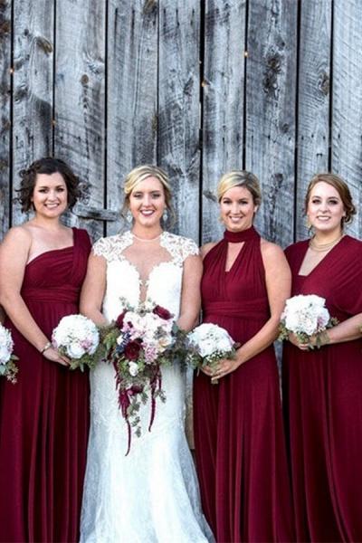 Convertible Long A-line Burgundy Bridesmaid Dresses   Multiway Infinity Dress_2
