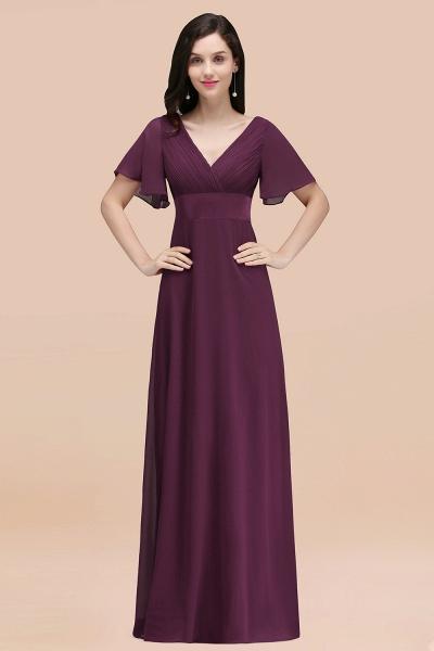 Simple A-Line Chiffon V-Neck Short-Sleeves Ruffles Floor-Length Bridesmaid Dresses_20