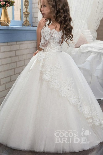 White Off The Shoulder 1/2 Sleeves Ball Gown Flower Girls Dress_2