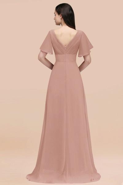 Simple A-Line Chiffon V-Neck Short-Sleeves Ruffles Floor-Length Bridesmaid Dresses_52
