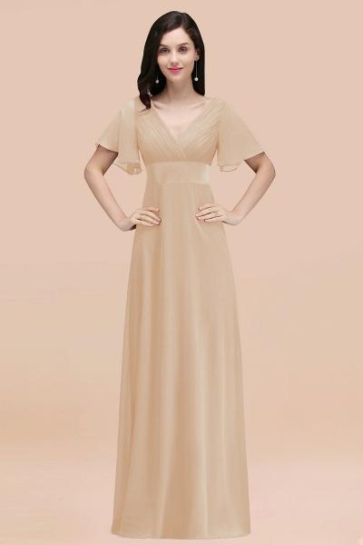 Simple A-Line Chiffon V-Neck Short-Sleeves Ruffles Floor-Length Bridesmaid Dresses_14