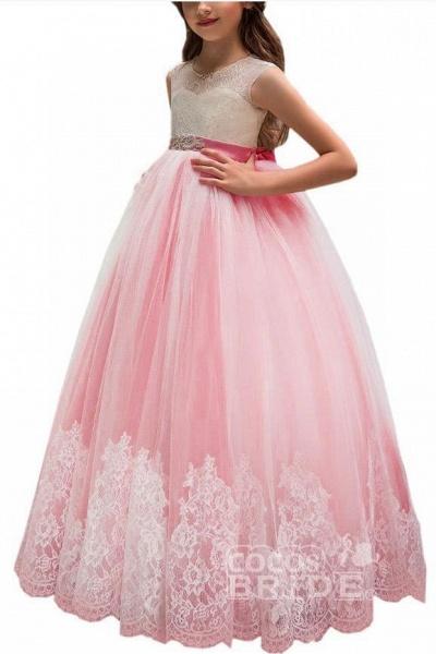 Pink Scoop Neck Sleeveless Ball Gown Flower Girls Dress_7