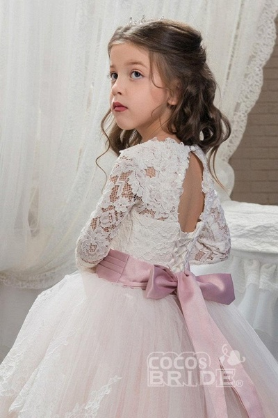 Purple Scoop Neck Long Sleeves Ball Gown Flower Girls Dress_3