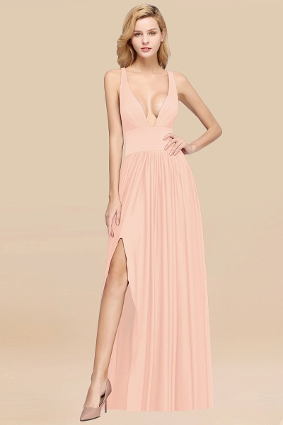 BM0141 A-Line V-Neck Sleeveless Long Ruffles Bridesmaid Dress_5