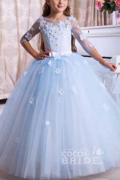 Light Blue Scoop Neck 3/4 Sleeves Ball Gown Flower Girls Dress_2