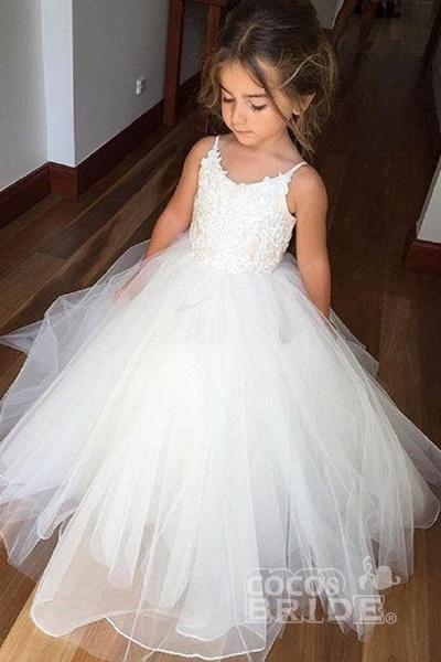White Square Neckline Sleeveless Ball Gown Flower Girls Dress_7