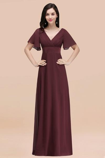 Simple A-Line Chiffon V-Neck Short-Sleeves Ruffles Floor-Length Bridesmaid Dresses_47