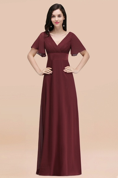 Simple A-Line Chiffon V-Neck Short-Sleeves Ruffles Floor-Length Bridesmaid Dresses_10