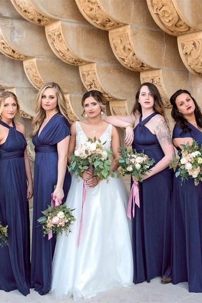 Convertible Long A-line Dark Navy Bridesmaid Dresses | Multiway Infinity Dress