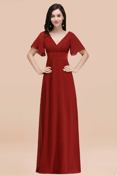 Simple A-Line Chiffon V-Neck Short-Sleeves Ruffles Floor-Length Bridesmaid Dresses_48