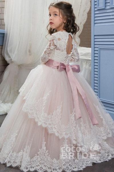 Purple Scoop Neck Long Sleeves Ball Gown Flower Girls Dress_2