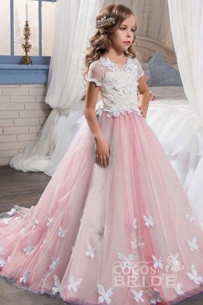 Pink Scoop Neck Short Sleeves Ball Gown Flower Girls Dress_5