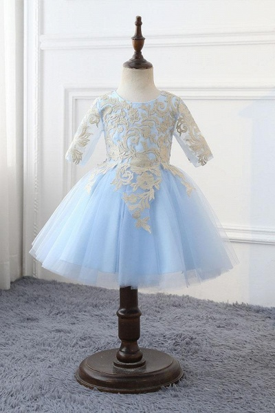 Light Blue Scoop Neck 1/2 Sleeves Ball Gown Flower Girls Dress_1