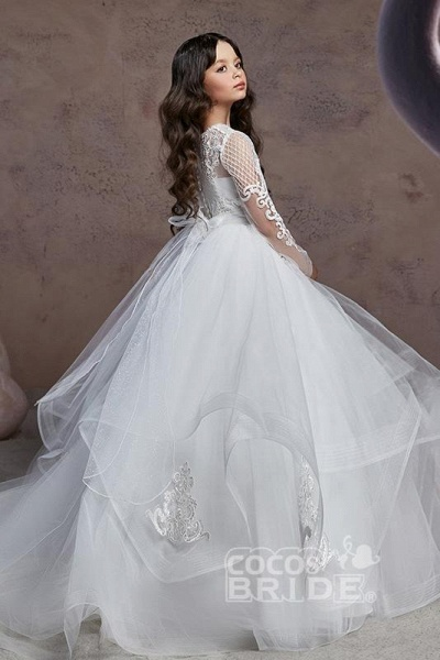 Scoop Neck Long Sleeves Ball Gown Flower Girls Dress_3