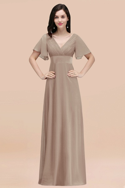 Simple A-Line Chiffon V-Neck Short-Sleeves Ruffles Floor-Length Bridesmaid Dresses_16
