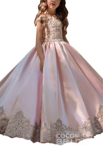 Light Pink Scoop Neck Short Sleeves Ball Gown Flower Girls Dress_3