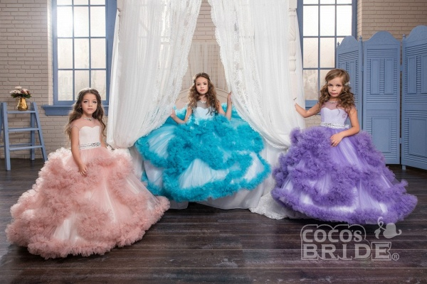 Violet Scoop Neck Short Sleeves Ball Gown Flower Girls Dress_4