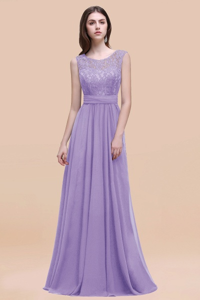 Elegant A-line Chiffon Lace Scoop Sleeveless Floor-Length Bridesmaid Dress_21