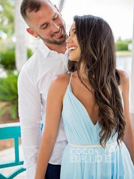A-line Ruffles Sky Blue Rustic Wedding Dresses Beach Wedding Gown_3