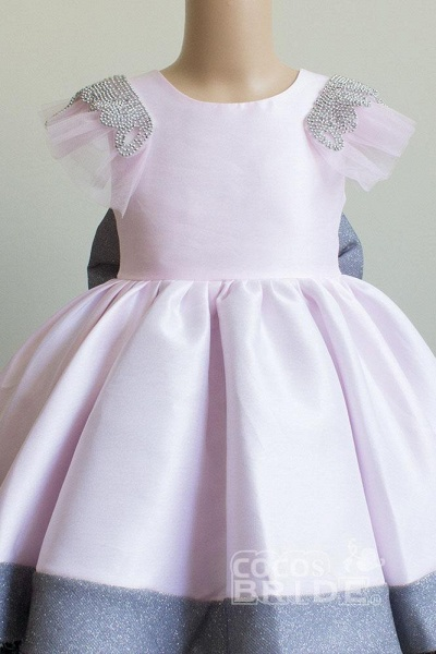 Scoop Neck Short Sleeves Ball Gown Flower Girls Dress_5