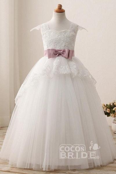 White Square Neck Cap Sleeves Ball Gown Flower Girls Dress_3