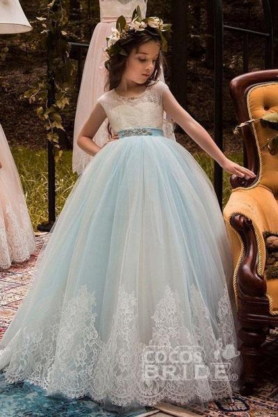 Pink Scoop Neck Sleeveless Ball Gown Flower Girls Dress_3