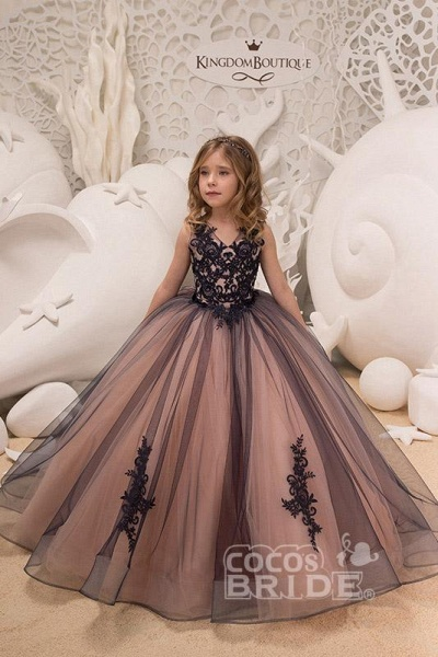 V-Neck Sleeveless Ball Gown Flower Girls Dress_4
