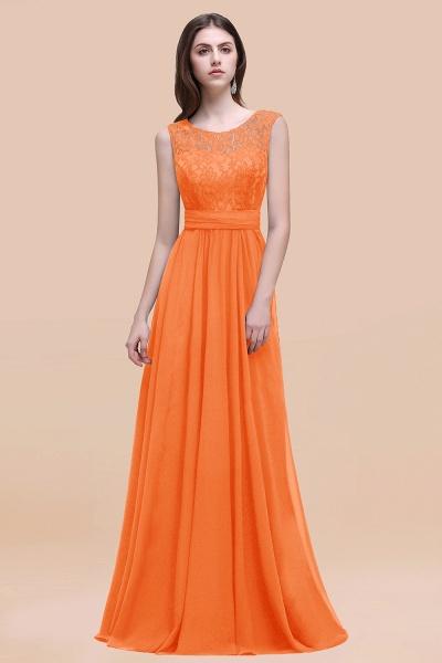 Elegant A-line Chiffon Lace Scoop Sleeveless Floor-Length Bridesmaid Dress_15