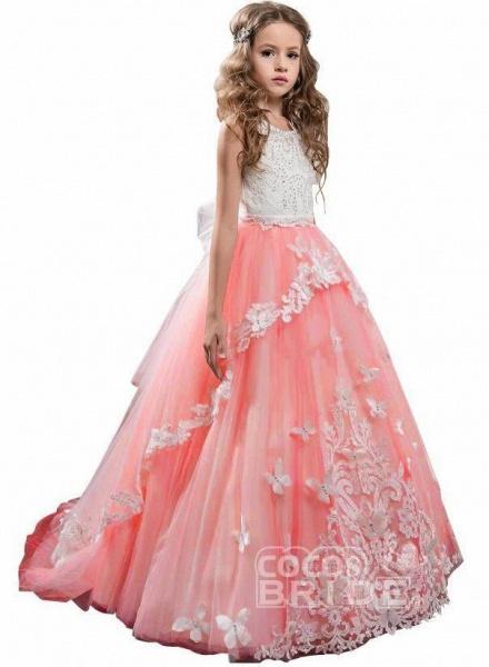 White Scoop Neck Sleeveless Ball Gown Flower Girls Dress_11