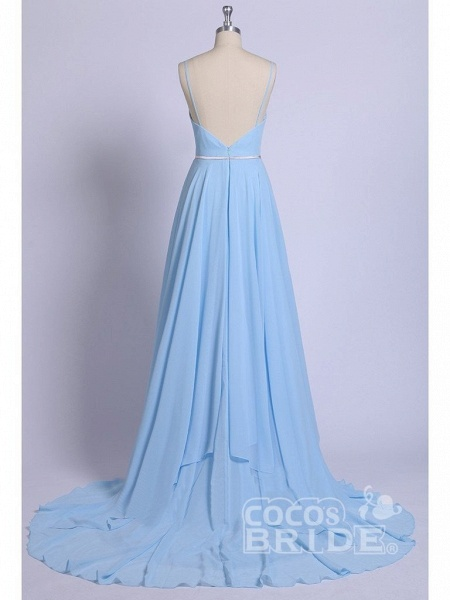 A-line Ruffles Sky Blue Rustic Wedding Dresses Beach Wedding Gown_5