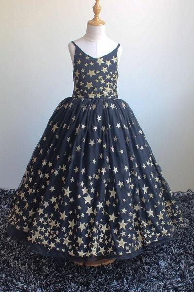 Navy Blue V-Neck Sleeveless Ball Gown Dress_1