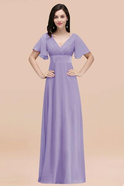 Simple A-Line Chiffon V-Neck Short-Sleeves Ruffles Floor-Length Bridesmaid Dresses_21
