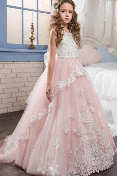 White Scoop Neck Sleeveless Ball Gown Flower Girls Dress_1