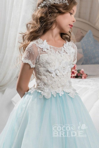 Pink Scoop Neck Short Sleeves Ball Gown Flower Girls Dress_3