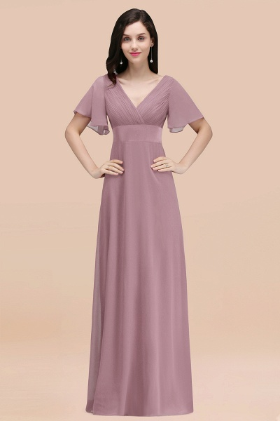 Simple A-Line Chiffon V-Neck Short-Sleeves Ruffles Floor-Length Bridesmaid Dresses_43