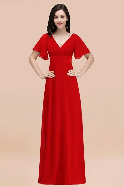 Simple A-Line Chiffon V-Neck Short-Sleeves Ruffles Floor-Length Bridesmaid Dresses_8