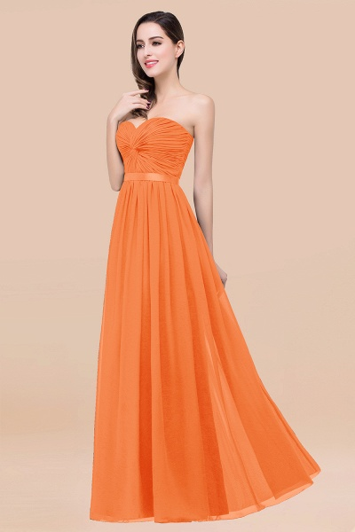 Elegant A-Line Chiffon Sweetheart Sleeveless Floor-Length Bridesmaid Dress with Ribbon_15