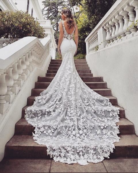 SD1950 Gorgeous Mermaid V-neck Lace Wedding Dress_2