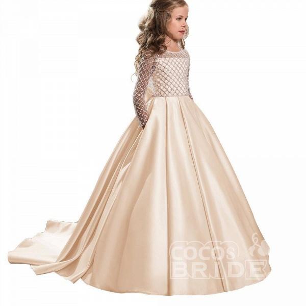 White Scoop Neck Long Sleeves Ball Gown Flower Girls Dress_22