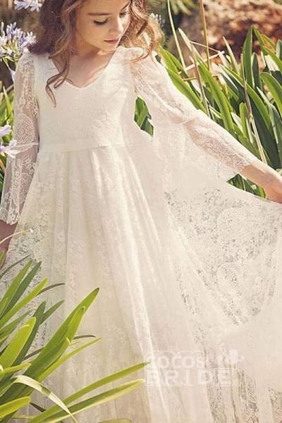 White Scoop Neck Long Sleeves Dress Flower Girls Dress_2