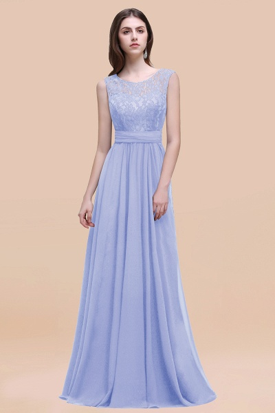 Elegant A-line Chiffon Lace Scoop Sleeveless Floor-Length Bridesmaid Dress_22