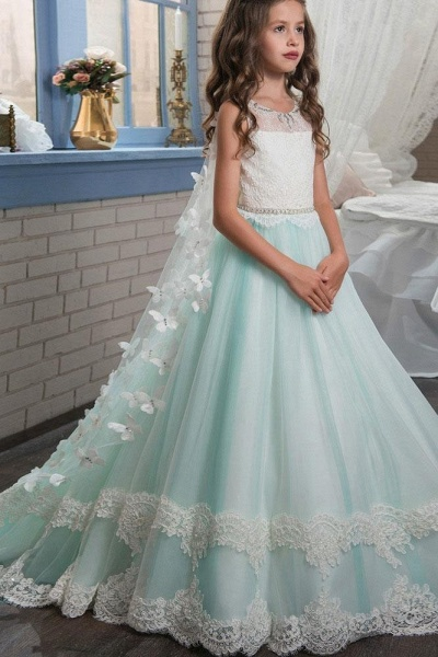 Scoop Neck Sleeveless Ball Gown Flower Girls Dress