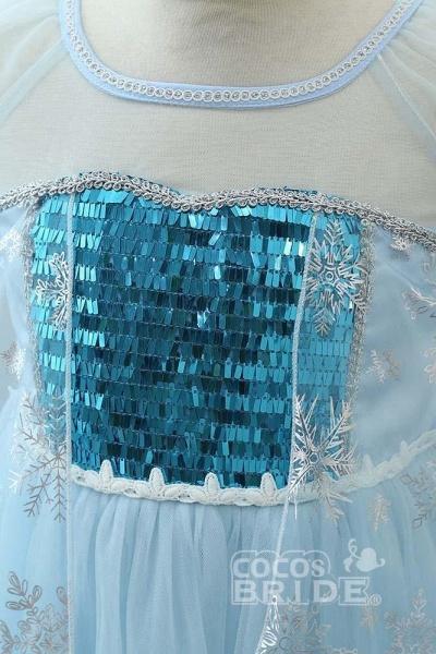 Light Blue Short Sleeves  Scoop Neck A-line Flower Girl Dresses_4