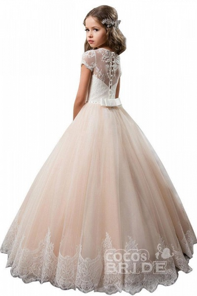 Light Pink Scoop Neck Short Sleeve Ball Gown Flower Girls Dress_2