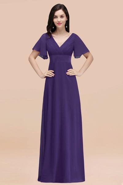 Simple A-Line Chiffon V-Neck Short-Sleeves Ruffles Floor-Length Bridesmaid Dresses_19