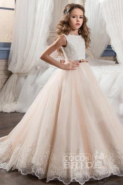White Scoop Neck Sleeveless Ball Gown Flower Girls Dress_7