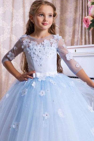 Light Blue Scoop Neck 3/4 Sleeves Ball Gown Flower Girls Dress_1